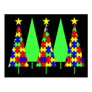 Christmas Trees - Puzzle Post Card