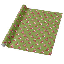 christmas trees red green winter pattern wrapping paper