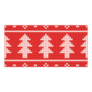Christmas Trees Red Jumper Knit Pattern Card