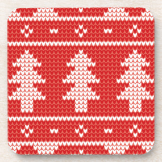 Christmas Trees Red Jumper Knit Pattern Coaster