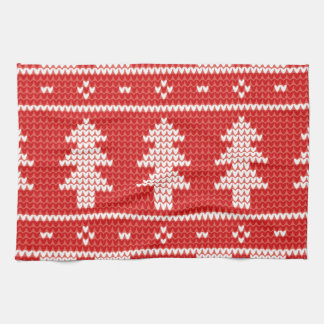 Christmas Trees Red Jumper Knit Pattern Kitchen Towel