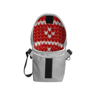 Christmas Trees Red Jumper Knit Pattern Messenger Bag