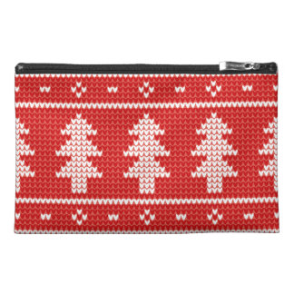 Christmas Trees Red Jumper Knit Pattern Travel Accessory Bags