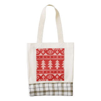 Christmas Trees Red Jumper Knit Pattern Zazzle HEART Tote Bag
