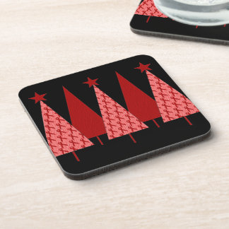 Christmas Trees - Red Ribbon AIDS & HIV Beverage Coaster