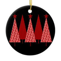 Christmas Trees - Red Ribbon AIDS & HIV Ceramic Ornament