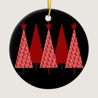 Christmas Trees - Red Ribbon AIDS & HIV Ceramic Ornament