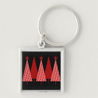 Christmas Trees - Red Ribbon AIDS & HIV Keychain