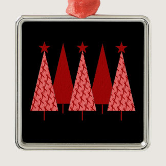 Christmas Trees - Red Ribbon AIDS & HIV Metal Ornament