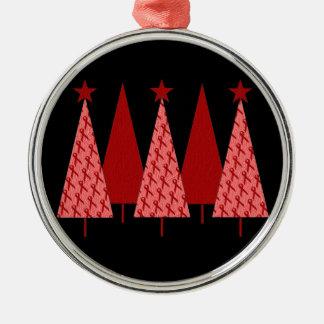 Christmas Trees - Red Ribbon AIDS & HIV Round Metal Christmas Ornament