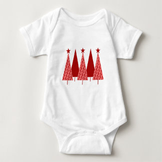 Christmas Trees - Red Ribbon Heart & Stroke Baby Bodysuit