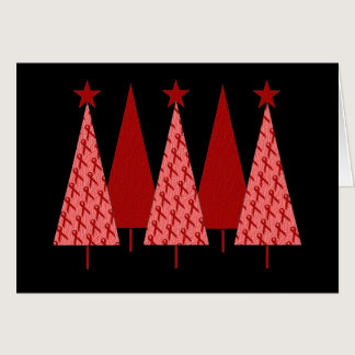 Christmas Trees - Red Ribbon Heart & Stroke Card