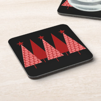 Christmas Trees - Red Ribbon Heart & Stroke Drink Coaster