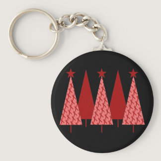 Christmas Trees - Red Ribbon Heart & Stroke Keychain