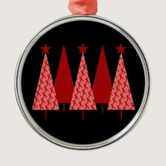 Christmas Trees - Red Ribbon Heart & Stroke Metal Ornament