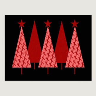 Christmas Trees - Red Ribbon Heart & Stroke Postcard