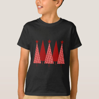 Christmas Trees - Red Ribbon Heart & Stroke T-Shirt
