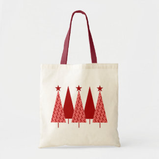 Christmas Trees - Red Ribbon Heart & Stroke Tote Bag