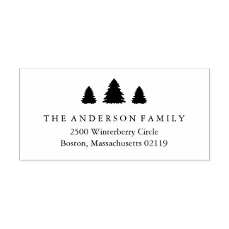 Christmas Trees Return Address Rubber Stamp
