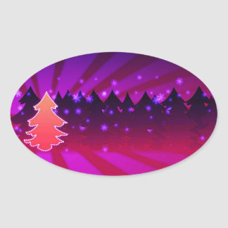 Christmas Trees Shades of Purple Stickers