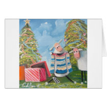 CHRISTMAS TREES SHEEP CARD