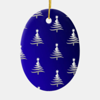 Christmas Trees Silver on Cobalt Blue Double-Sided Oval Ceramic Christmas Ornament