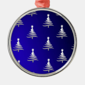Christmas Trees Silver on Cobalt Blue Round Metal Christmas Ornament