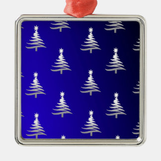 Christmas Trees Silver on Cobalt Blue Square Metal Christmas Ornament