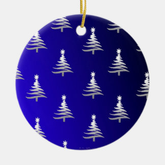 Christmas Trees Silver on Cobalt Blue Double-Sided Ceramic Round Christmas Ornament