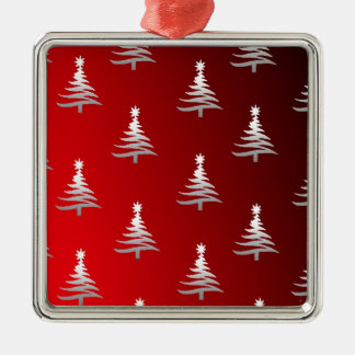 Christmas Trees Silver on Red Square Metal Christmas Ornament