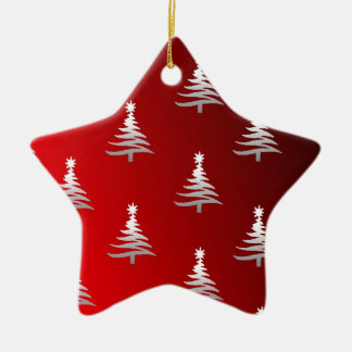 Christmas Trees Silver on Red Double-Sided Star Ceramic Christmas Ornament