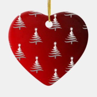 Christmas Trees Silver on Red Double-Sided Heart Ceramic Christmas Ornament