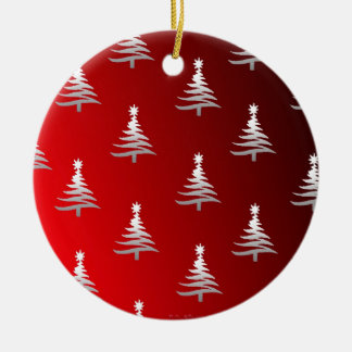 Christmas Trees Silver on Red Double-Sided Ceramic Round Christmas Ornament