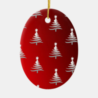 Christmas Trees Silver on Red Double-Sided Oval Ceramic Christmas Ornament