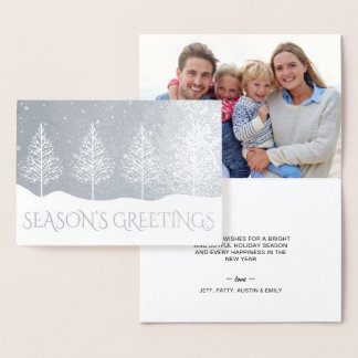 Christmas Trees Snowflakes Holiday Photo Greetings Foil Card