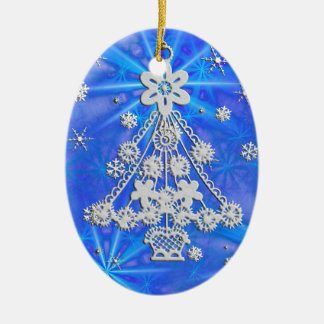 Christmas Trees & Snowflakes Double-Sided Oval Ceramic Christmas Ornament