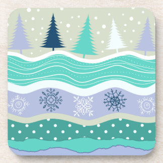Christmas Trees Snowflakes Scrapbook Coasters