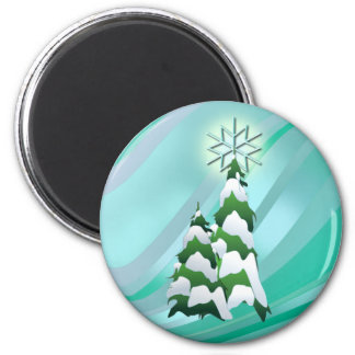 CHRISTMAS TREES & STAR by SHARON SHARPE 2 Inch Round Magnet