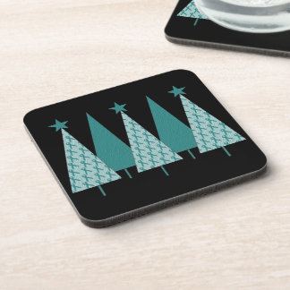 Christmas Trees - Teal Ribbon Cervical Cancer Beverage Coaster