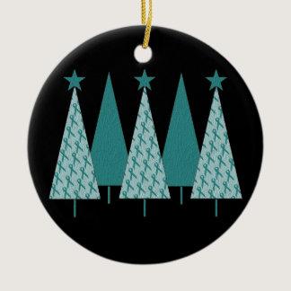 Christmas Trees - Teal Ribbon Cervical Cancer Ceramic Ornament
