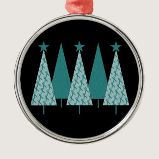 Christmas Trees - Teal Ribbon Cervical Cancer Metal Ornament