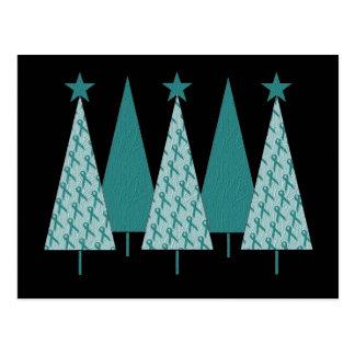 Christmas Trees - Teal Ribbon Cervical Cancer Postcard