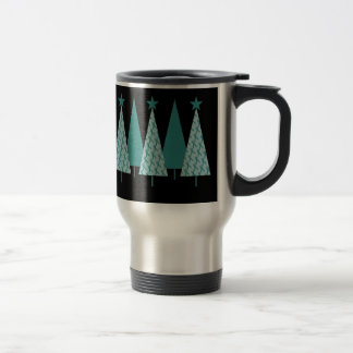Christmas Trees - Teal Ribbon Cervical Cancer Travel Mug