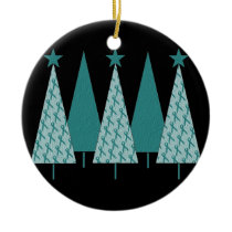 Christmas Trees - Teal Ribbon Ovarian Cancer Ceramic Ornament