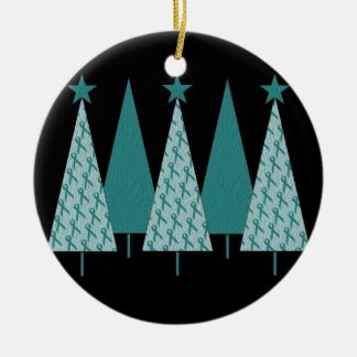 Christmas Trees - Teal Ribbon Ovarian Cancer Ceramic Ornament
