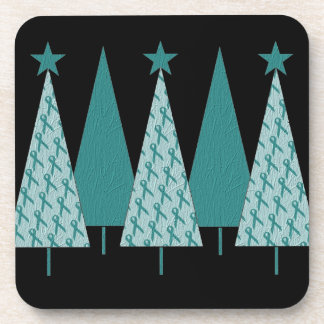 Christmas Trees - Teal Ribbon Ovarian Cancer Coaster