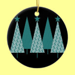 Christmas Trees - Teal Ribbon Ovarian Cancer Double-Sided Ceramic Round Christmas Ornament