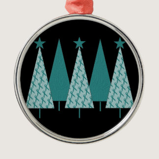 Christmas Trees - Teal Ribbon Ovarian Cancer Metal Ornament