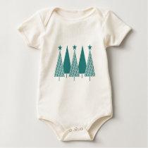 Christmas Trees - Teal Ribbon Uterine Cancer Baby Bodysuit