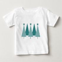 Christmas Trees - Teal Ribbon Uterine Cancer Baby T-Shirt